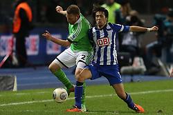 Football: Germany, 1. Bundesliga, Berlin, 16.02.2014<br />Patrick Ochs (VFL Wolfsburg) - Hajime Hosogai (Hertha BSC Berlin)<br /> copyright: pixathlon