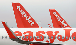 File photo dated 08/03/17 of easyJet aeroplanes. Low-cost airline easyJet has shrugged off strike woes and surging costs to notch up a 41% jump in annual profits.