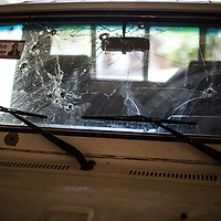 bullet holes in a windscreen, Copán Ruinas