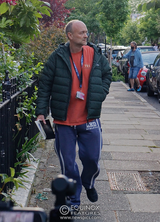 """London, United Kingdom - 24 May 2020<br /> Dominic Cummings arriving home. The scenes unfolding today at Dominic Cummings home in North London. Boris Johnsons political advisor spent the day in discussions with the Prime Minister after accusations of breaking the Corona virus lockdown. Neighbours and passers-by protested and shouted """"hypocrite"""", """"resign"""" and """"shame on you"""" when he returned to his house. London, England, UK.<br /> **VIDEO AVAILABLE**<br /> (photo by: HAUSARTS / EQUINOXFEATURES.COM)<br /> Picture Data:<br /> Photographer: Hausarts / Equinox Features<br /> Copyright: ©2020 Equinox Licensing Ltd. +443700 780000<br /> Contact: Equinox Features<br /> Date Taken: 20200524<br /> Time Taken: 17395410<br /> www.newspics.com"""