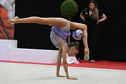 July 28, 2018 - Chieti, Abruzzo, Italy - Junior Rhythmic gymnast Annapaola Cantatore of Italy performs her ball routine during the Rhythmic Gymnastics pre World Championship Italy-Ukraine-Germany at Palatricalle on 29th of July 2018 in Chieti Italy. (Credit Image: © Franco Romano/NurPhoto via ZUMA Press)