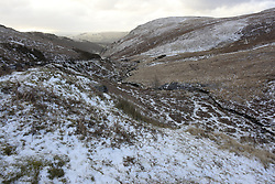 © Licensed to London News Pictures. 27/03/2021. Rhayader, Powys, Wales, UK.   A wintry landscape after overnight snow  in the Elan Valley near Rhayader in Powys, Wales, UK. Photo credit: Graham M. Lawrence/LNP
