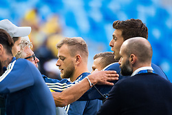 July 3, 2018 - St Petersburg, Russia - 180703 John Guidetti of Sweden talks to relatives after winning the FIFA World Cup round of 16 match between Sweden and Switzerland on July 3, 2018 in ST Petersburg..Photo: Petter Arvidson / BILDBYRÃ…N / kod PA / 87748 (Credit Image: © Petter Arvidson/Bildbyran via ZUMA Press)