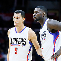 02 December 2015: Los Angeles Clippers guard Pablo Prigioni (9) talks to Los Angeles Clippers forward Lance Stephenson (1) during the Indiana Pacers 103-91 victory over the Los Angeles Clippers, at the Staples Center, Los Angeles, California, USA.