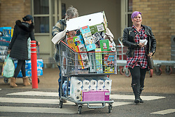 © Licensed to London News Pictures. 05/11/2020. Watford, UK. A shopper pushes a trolly fully of supplies from COSTCO in Watford, Hertfordshire on the first day of a new national lockdown. Strict measures have been re-introduced in an attempt to fight a second wave of the COVID-19 strain of Coronavirus . Photo credit: Ben Cawthra/LNP