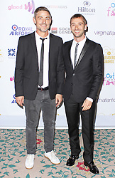 © Licensed to London News Pictures. 25/04/2014, UK. Cameron Laux and Charlie Condou. The Out In The City & g3 Readers Awards, The Landmark Hotel, London UK, 25 April 2014. Photo credit : Brett D. Cove/Piqtured/LNP