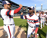 CHICAGO - SEPTEMBER 03:  Omar Narvaez #38 (L) and Alen Hanson #39 of the Chicago White Sox celebrate after the game against the Tampa Bay Rays on September 3, 2017 at Guaranteed Rate Field in Chicago, Illinois.  (Photo by Ron Vesely) Subject:   Omar Narvaez; Alen Hanson