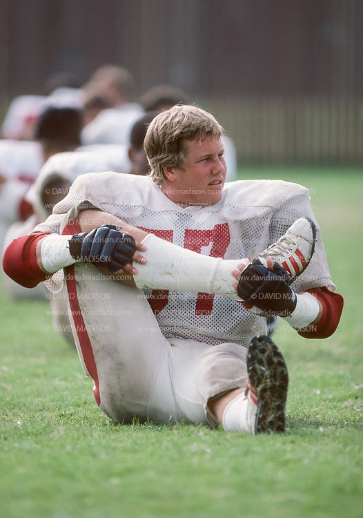 COLLEGE FOOTBALL:  Mike Teeuws #57 of Stanford practices during September 1981 at Stanford University un Palo Alto, California.    Photograph by David Madison ( www.davidmadison.com ).