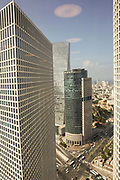 Elevated view of Tel Aviv, Israel Azreili towers in the foreground