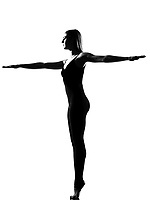 beautiful caucasian tall woman ballet dancer standing pose  full length on studio isolated white background