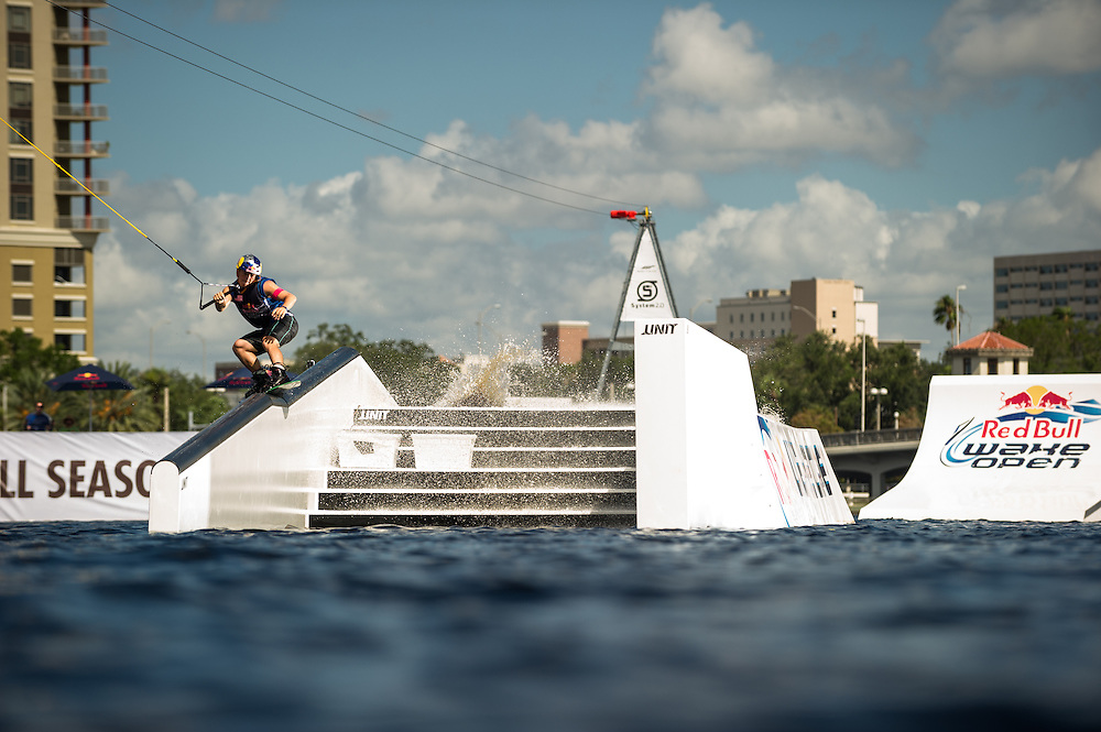 Steel Lafferty Competes at Red Bull Wake Open Park in Tampa Bay, Florida on July 14, 2012