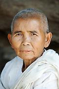 A female Buddhist monk, a Bhikkhunis, in rural Cambodia