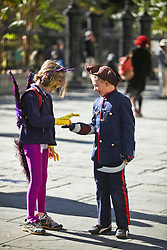 09 February 2016. New Orleans, Louisiana.<br /> Mardi Gras Day. Kids in costumes in Jackson Square in the French Quarter.<br /> Photo©; Charlie Varley/varleypix.com