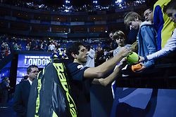 November 19, 2017 - London, England, United Kingdom - Marcelo Melo of Brazil signs the ball before the Doubles final at Nitto ATP World Tour Finals at the O2 Arena, London on November 19, 2017. (Credit Image: © Alberto Pezzali/NurPhoto via ZUMA Press)