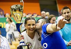 Branko Tamse, coach of Celje celebrates with his wife during trophy ceremony when RK Celje Pivovarna Lasko awarded as National Champions 2017 after handball match between RK Celje Pivovarna Lasko and RK Gorenje Velenje in Last Round of 1. Liga NLB 2016/17, on June 2, 2017 in Arena Zlatorog, Celje, Slovenia. Photo by Vid Ponikvar / Sportida