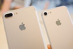September 16, 2016 - Tokyo, Japan - (L to R) The new iPhone 7 Plus with double camera and iPhone 7 on display during the launch of Apple's new smartphones iPhone 7 and 7 Plus at its retail store in Omotesando on September 16, 2016, Tokyo, Japan. Apple fans who already reserved online lined up patiently before the store in order to be the first to get their hands on the new iPhone models. The new iPhone includes FeiCa touch pay technology, water resistance, a double camera (only 7 Plus model) and longer battery life; but does not include the traditional headphone jack. (Photo by Rodrigo Reyes Marin/AFLO) (EQ Images) SWITZERLAND ONLY (Credit Image: © Rodrigo Reyes Marin/EQ Images via ZUMA Press)