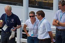 Eddy De Smedt (chef de mission for the London Olympics) talking to Karin Donckers (BEL)<br /> CIC2* Greenwich Park Eventing Invitational<br /> Olympic Test Event - London 2011<br /> © Dirk Caremans