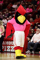 05 February 2016: Reggie Redbird sports pink. Illinois State University Women's Redbird Basketball team hosted the Sycamores of Indiana State for a Play4 Kay game at Redbird Arena in Normal Illinois.