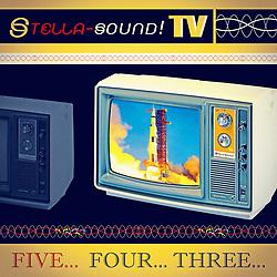 Stella Sound Retro TV Rocket Launch Advertising illustration black and gold