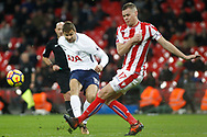 Fernando Llorente of Tottenham Hotspur (L) has a shot blocked by Ryan Shawcross of Stoke City (R). Premier league match, Tottenham Hotspur v Stoke City at Wembley Stadium in London on Saturday 9th December 2017.<br /> pic by Steffan Bowen, Andrew Orchard sports photography.