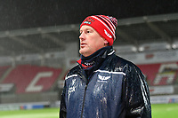 Rugby Union - 2020 / 2021 Heineken Cup - Pool 1 - Scarlets vs Toulon - Parc-y-Scarlets<br /> <br /> Scarlets head coach Glenn Delaney speaks to the media in torrential rain after the match was called off at the last minute, not on account of the weather conditions, but on account of covid 19 concerns from Toulon<br /> <br /> <br /> COLORSPORT/WINSTON BYNORTH