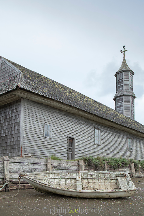 Boat and tower, Church of Quinchao, Chiloe Island, Chile