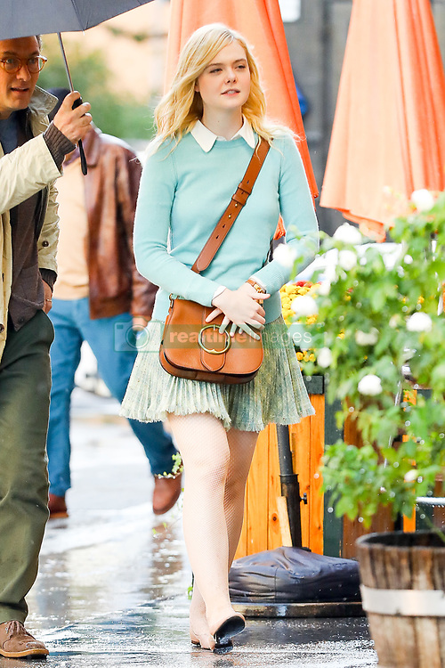 Jude Law and Elle Fanning seen rehearsals at the Woody Allen set in NYC. 19 Oct 2017 Pictured: Jude Law and Elle Fanning. Photo credit: ZapatA/MEGA TheMegaAgency.com +1 888 505 6342