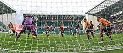 Hibernian's John McGinn (left) scores their third goal. <br /> Hibernian 3 v 0 Alloa Athletic, Scottish Championship game played 12/9/2015 at Easter Road.