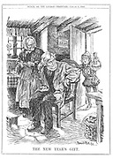 The infant 1909 bringing an elderly couple thier New Year gift - the old age pension.  Cartoon by Bernard Partridge from 'Punch', London, 6 January 1909.