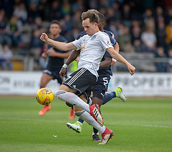 Ayr United's Laurence Shankland scoring their first goal. Dundee 0 v 3 Ayr United, Scottish League Cup Second Round, played 18/8/2018 at the Kilmac Stadium at Dens Park, Scotland.