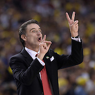 April 8, 2013 -  Atlanta: Louisville coach Rick Pitino calls a play during  2013 NCAA Division 1 Men's National Championship game inside the Georgia Dome in Atlanta on Monday, April 8, 2013.   JOHNNY CRAWFORD