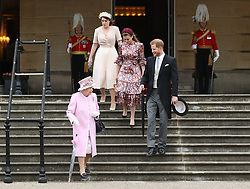 May 29, 2019 - London, London, United Kingdom - Image licensed to i-Images Picture Agency. 29/05/2019. London, United Kingdom. Queen Elizabeth II, Prince Harry,The Duke of Sussex , Princess Eugenie and Princess Beatrice at a Royal Garden Party at Buckingham Palace in London. (Credit Image: © Pool/i-Images via ZUMA Press)