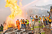 Fire chief Joanne Hayes-White as firefighters battle a fire following an explosion at Geary boulevard and Parker Avenue on Wednesday, Feb. 6, 2019, in San Francisco, Calif.