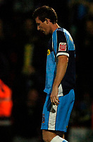 Photo: Richard Lane.<br />Cheltenham Town v Wycombe Wanderers. Coca Cola League 2. Play off Semi Final, 2nd Leg. 18/05/2006. <br />Wycombe's Mike Williamson dejection.