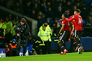 Anthony Martial of Manchester United (l) celebrates with his teammates after scoring his teams 1st goal. Premier league match, Everton v Manchester Utd at Goodison Park in Liverpool, Merseyside on New Years Day, Monday 1st January 2018.<br /> pic by Chris Stading, Andrew Orchard sports photography.