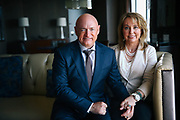 Former Arizona congresswoman Gabrielle Giffords and husband former astronaut Mark Kelly pose for a photo at the Westin Hotel in Seattle, Monday, May 9, 2016.  The outspoken gun reform advocates were attending a  luncheon hosted by the Washington Alliance for Gun Responsibility to raise money for ballot measure I-1491 which would provide for Extreme Risk Protection Orders that allow families and law enforcement to petition the court to temporarily suspend a person's access to firearms if there is evidence they are a threat to themselves or others. Giffords was shot in the head in 2011 during an event in Tuscon.  Despite suffering brain injuries, she and Kelly continue their fight against gun violence across the country.