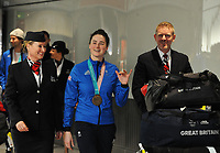 Team GB PyeongChang 2018 Winter Olympics Homecoming - Heathrow Airport, Terminal Five<br /> <br /> Izzy Atkin of GB with their bronze medal  arrive home from the Games.<br /> <br /> COLORSPORT/ANDREW COWIE