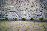 War scene wall carving atop of Hill D1 'Dominique 2,' Muong Thanh Valley, Dien Bien Province, Vietnam, Southeast Asia