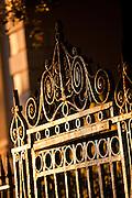 Wrought iron gate work detail in Charleston, SC.