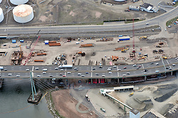 """Early Eastbound Approach Construction, Pearl Harbor Memorial """"Q"""" Bridge, just east of Interstate I-95 I-91 CT Route 34 Interchanges. Surface road Water Street at top. Details of approaches, overpasses, ramps & roadway near or within I-95 New Haven Harbor Crossing Corridor projects confines. Photography taken at the beginning of Contract B1 & E1"""