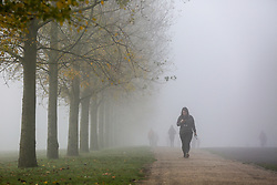 © Licensed to London News Pictures. 05/11/2020. London, UK. A woman walking in dense fog in Finsbury Park, north London on the first day of the COVID-19 second national lockdown. Photo credit: Dinendra Haria/LNP