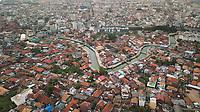 Aerial view of a neighbourhood in Palembang city of Sumatra island, Indonesia.