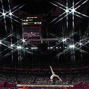 Linlin Deng, China, in action during her Gold Medal performance in the Women's Gymnastics Apparatus Beam final at North Greenwich Arena during the London 2012 Olympic games London, UK. 7th August 2012. Photo Tim Clayton