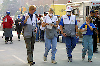 13 September 2001: American Red Cross Disaster team prepares for events ahead following the Terrorist attack on the America's.  Lower Manhattan, NY. Area surrounding ground zero where the World Trade Centers WTC once stood only hours after they fell to the ground in New York.  Islamic terrorist Osama bin Laden declares The Jihad or Holy War against The United States of America on September 11, 2001. Headline news photos available for editorial use.