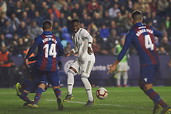 February 24, 2019 - Valencia, Valencia, Spain - Ruben Vezo of Levante UD and Vinicius Junior of Real Madrid during the La Liga match between Levante and Real Madrid at Estadio Ciutat de Valencia on February 24, 2019 in Valencia, Spain. (Credit Image: © AFP7 via ZUMA Wire)