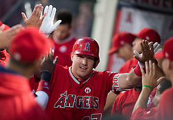 August 30, 2017 - Anaheim, CA, USA - The Los Angeles Angels Mike Trout celebrates his solo home run in the first inning against the Oakland Athletics at Angel Stadium in Anaheim, CA on Wednesday, August 30, 2017. (Photo by Kevin Sullivan, Orange County Register/SCNG) (Credit Image: © Kevin Sullivan/The Orange County Register via ZUMA Wire)