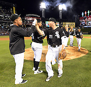 CHICAGO - JUNE 24: Todd Frazier #21 and Jose Abreu #79 of the Chicago White Sox celebrate with teammates after the game against the Toronto Blue Jays on June 24, 2016 at U.S. Cellular Field in Chicago, Illinois.  The White Sox defeated the Blue Jays 3-2.  (Photo by Ron Vesely) Subject:    Todd Frazier; Jose Abreu