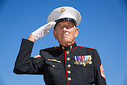 Gunnery Sergeant and former Milpitas Mayor Denny Weisgerber poses for a portrait during the Memorial Day Ceremony at Milpitas City Hall's Veterans Plaza in Milpitas, California, on May 26, 2014. (Stan Olszewski/SOSKIphoto)