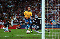 Photo: Tony Oudot.<br /> England v Brazil. International Friendly. 01/06/2007.<br /> Afonso of Brazil has a shot saved by Paul Robinson of England after upending Wes Brown