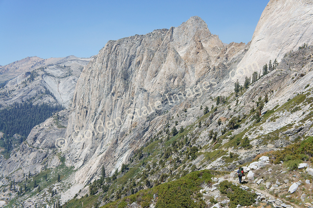 Backpacker Brian Laird almost disappears into the High Sierra terrain.